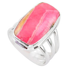 8.68cts solitaire natural rhodochrosite inca rose 925 silver ring size 7 t28929