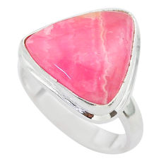 9.61cts solitaire natural rhodochrosite inca rose 925 silver ring size 7 t28949