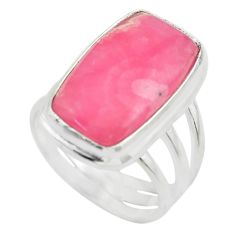 11.93cts solitaire natural rhodochrosite inca rose 925 silver ring size 7 t28981