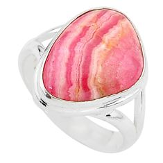 9.47cts solitaire natural rhodochrosite inca rose 925 silver ring size 7 t3444