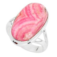 10.12cts solitaire natural rhodochrosite inca rose 925 silver ring size 7 t3475