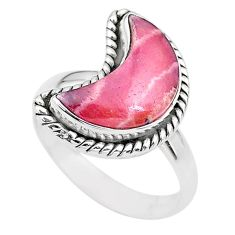 6.05cts moon natural rhodochrosite inca rose 925 silver ring size 8 t22162
