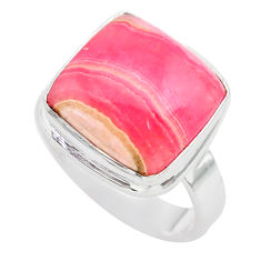 11.02cts solitaire natural rhodochrosite inca rose 925 silver ring size 8 t28937