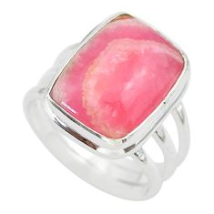 12.34cts solitaire natural rhodochrosite inca rose 925 silver ring size 8 t28948