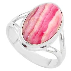 6.31cts solitaire natural rhodochrosite inca rose 925 silver ring size 8 t3445