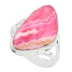 14.12cts solitaire natural rhodochrosite inca rose 925 silver ring size 8 t3457