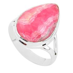 13.70cts solitaire natural rhodochrosite inca rose 925 silver ring size 8 t3469