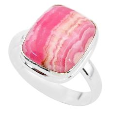 6.56cts solitaire natural rhodochrosite inca rose 925 silver ring size 9 t3450