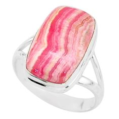 11.46cts solitaire natural rhodochrosite inca rose 925 silver ring size 9 t3459