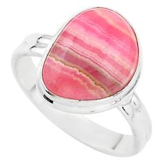6.95cts solitaire natural rhodochrosite inca rose 925 silver ring size 9 t3476