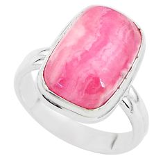 6.58cts solitaire natural rhodochrosite inca rose 925 silver ring size 6.5 t3442