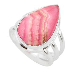 11.97cts solitaire natural rhodochrosite inca rose silver ring size 7 t28966