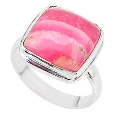 13.28cts solitaire natural rhodochrosite inca rose silver ring size 9 t18070