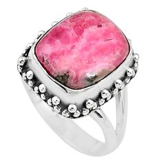 4.82cts solitaire natural rhodochrosite inca rose silver ring size 6.5 t10343
