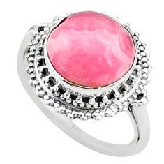 5.84cts solitaire natural rhodochrosite inca rose silver ring size 6.5 t15523