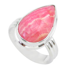 10.25cts solitaire natural rhodochrosite inca rose silver ring size 7.5 t28944