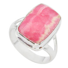 10.84cts solitaire natural rhodochrosite inca rose silver ring size 7.5 t28973