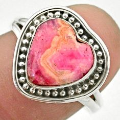 5.63cts solitaire natural rhodochrosite inca rose silver ring size 7.5 t41656
