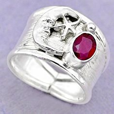 1.41cts solitaire natural ruby 925 silver crescent moon star ring size 7 t32391