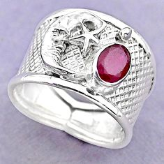 1.57cts solitaire natural ruby 925 silver crescent moon star ring size 8 t32390