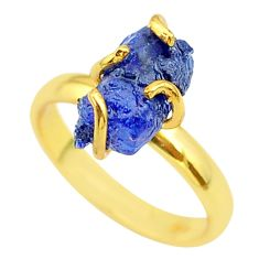 5.54cts solitaire natural sapphire rough 925 silver 14k gold ring size 8 t36885