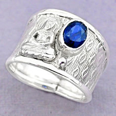 1.51cts solitaire natural sapphire silver buddha meditation ring size 7.5 t32362