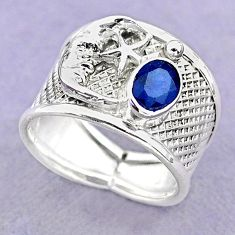1.47cts solitaire natural sapphire silver crescent moon star ring size 7 t32394