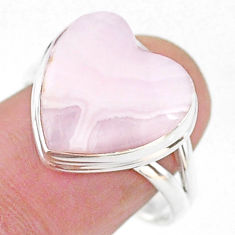 Solitaire natural scolecite high vibration crystal 925 silver ring size 9 t15639