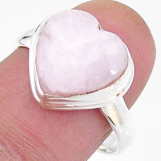 Solitaire natural scolecite high vibration crystal silver ring size 8.5 t15640