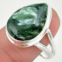 14.23cts solitaire natural seraphinite (russian) 925 silver ring size 10 t24709
