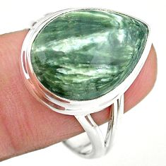 13.22cts solitaire natural seraphinite (russian) 925 silver ring size 10 t24720