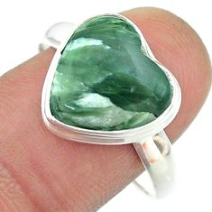 6.51cts solitaire natural seraphinite (russian) 925 silver ring size 10 t55126