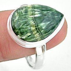 13.77cts solitaire natural seraphinite (russian) 925 silver ring size 11 t24719