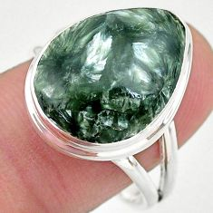 13.73cts solitaire natural seraphinite (russian) 925 silver ring size 9 t24705