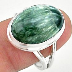 13.27cts solitaire natural seraphinite (russian) 925 silver ring size 9 t24717