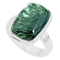 9.03cts solitaire natural seraphinite (russian) 925 silver ring size 8.5 t10357