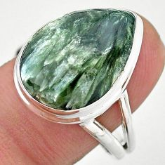 14.23cts solitaire natural seraphinite (russian) 925 silver ring size 9.5 t24712