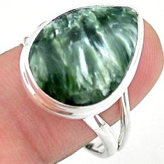13.50cts solitaire natural seraphinite (russian) 925 silver ring size 9.5 t24716