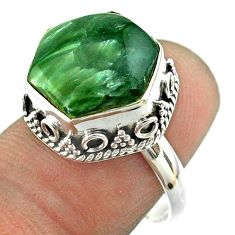 6.83cts solitaire natural seraphinite 925 silver hexagon ring size 7 t55889