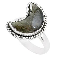 5.82cts moon natural sheen black obsidian 925 silver ring size 7 t22141