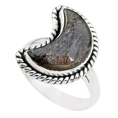 5.82cts moon natural sheen black obsidian 925 silver ring size 7 t22152