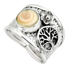 2.93cts solitaire natural shiva eye 925 silver tree of life ring size 7 r49901