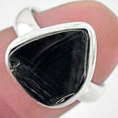 5.38cts solitaire natural shungite 925 silver solitaire ring size 6.5 t22383
