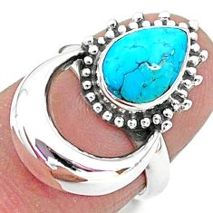 2.72cts solitaire natural sleeping beauty turquoise 925 silver ring size 6 t6388