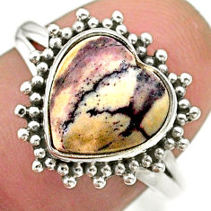 5.07cts solitaire natural sonoran dendritic rhyolite silver ring size 8 t41626