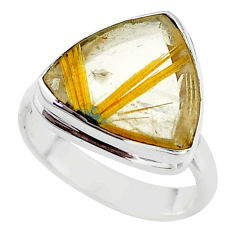 10.78cts solitaire natural star rutilated quartz 925 silver ring size 8 t39507