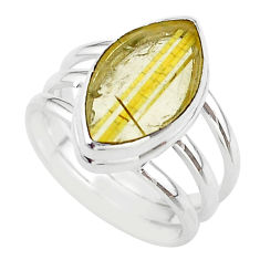 7.66cts solitaire natural star rutilated quartz 925 silver ring size 8.5 t39506