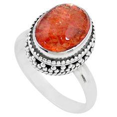5.31cts solitaire natural sunstone (hematite feldspar) silver ring size 7 t10427