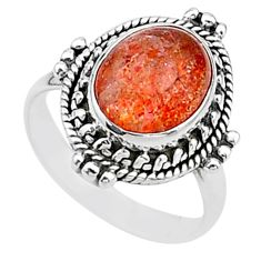 4.94cts solitaire natural sunstone (hematite feldspar) silver ring size 7 t15502
