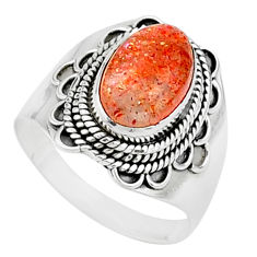 4.37cts solitaire natural sunstone (hematite feldspar) silver ring size 9 t15463